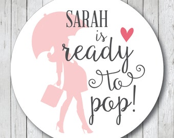 Personalized Ready to Pop Stickers, Ready to Pop Tags, Ready to Pop Labels . Silhouette Baby Shower Favor Tags