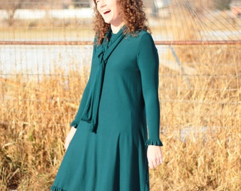 Dress - Midi Length - Casual AND Dressy - Swing Dress with Tie - Day to Night Look - Custom - Modest Woman Clothes - Plus Size - Shift Dress
