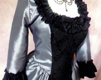 ATELIER COCON 2 pcs. Manteau Polonaise Dress Costume Dress Taffeta Jacquard silver black