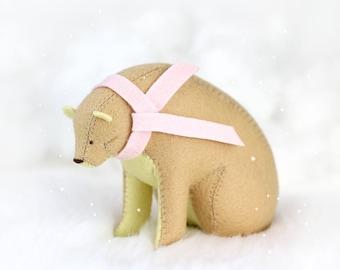 Winter Weather Bear / Sitting Bear Soft Sculpture / Grizzly Bear Art / Mountain Art / Mountain Bear