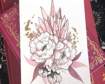 Crystallized Peonies - Watercolor Peonies