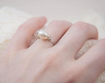 Large White Pearl Solitaire Ring, Set in Sterling Silver, Size 4.5