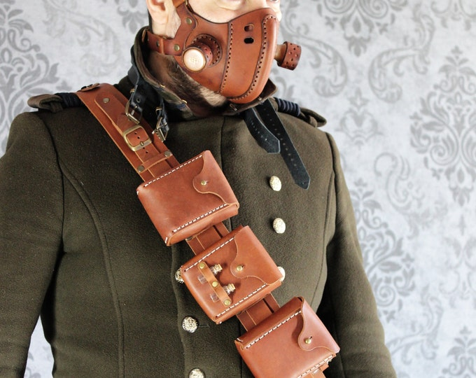 STEAMPUNK UTILITY BELT leather gear larp cosplay