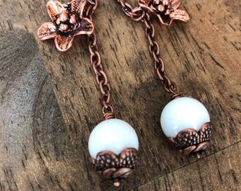Quartz and copper flower earrings
