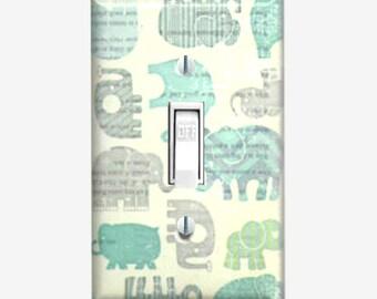 Vintage Elephant nursery room wall decor light switch cover Elephant theme baby shower gift