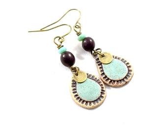 Turquoise Teardrop Stoneware Handmade Earrings, Artisan Earrings, Boho Chic Earrings, Brass Earrings, Czech Glass Earrings, E054
