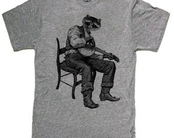 Raccoon Banjo -- Mens unisex T-shirt -- sizes sm med lg xl xxl skip n whistle