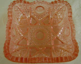 Square Pink Cut Glass Candy Dish