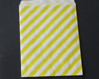 5 bags kraft paper bleached - 13x18.5 cm striped yellow & white for gift wrapping, creation, treats