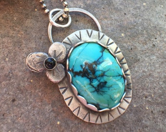 Turquoise Onyx Sterling Silver Necklace