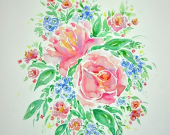 LIMITED EDITION ~ Spring Summer Watercolour Floral Bouquet Print