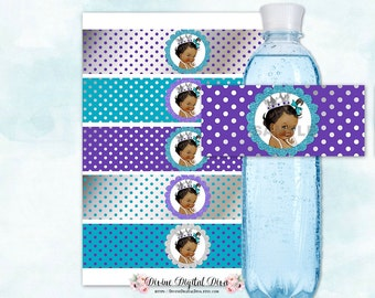 Water Bottle Labels | Royal Purple Teal Turquoise & Silver Dots | African American Princess Crown | Digital Instant Download