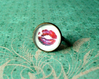 20% OFF -Kiss Me Red Lips ,White and red Ring ,Morden Fashion,Sweet Gift Idea