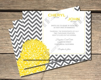 Chevron Flower Wedding Invitation - 5X7
