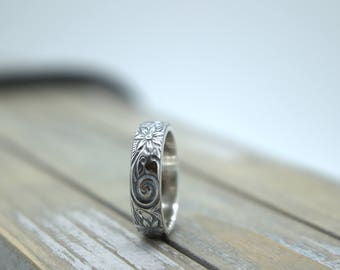 Floral Patterned Ring Band - Rustic Sterling Silver Band - Wedding Ring - Engagement - Gift For Her