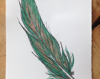 Fantasy bird feather drawing. A5