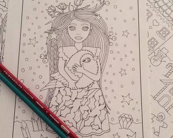 Girl And Robin Coloring Pages