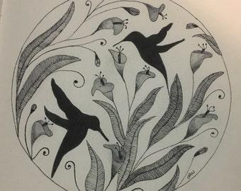 Hummingbirds Wall Art Print of Original Ink Drawing - Limited Edition Signed Illustration