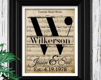 1st Anniversary Gift on Velvet Paper | Personalized Sheet Music to Your Wedding Song | First Year Anniversary Paper Gift for men | 1st Year