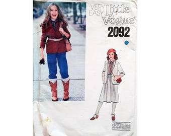 Part UNCUT Very Easy Little Vogue 2092 Girls Jacket Blazer, Skirt and Trouser Pants Sewing Pattern Age 8 to 10