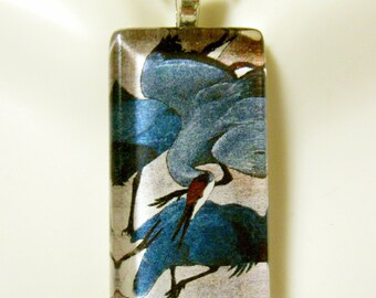 Cranes coming in for a landing tapestry glass pendant - BGP12-048