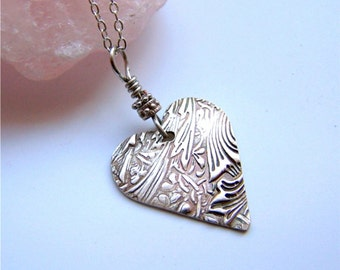 Silver Heart Necklace, Whimsical Heart Necklace, Vine Jewelry, Textured Fine Silver Heart