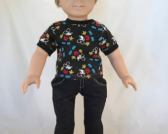 18 Inch Blonde Boy Doll with Blue Eyes  Dressed in a A Mickey Mouse Shirt and Jeans is a American Girl Doll With A New Boys Wig