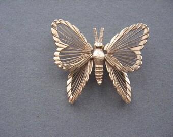 Vintage Monet Gold Filigree Butterfly Brooch Pin