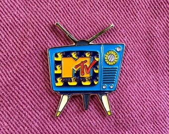 MTV Retro Television Enamel Pin | Wacky Colorful TV | Pop Culture | Lapel Pin | Denim Jacket Gift | I Want My MTV