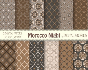 """Moroccan Digital Paper: """"MOROCCO NIGHT"""" Brown Black Gray scrapbook paper pack with moroccan elements for invites, cards"""
