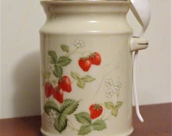 Vintage Strawberries & Cream Ceramic Jam/Jelly Jar with Lid