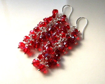Long Red Crystal Cluster Earrings Red Cluster Earrings Red Earrings