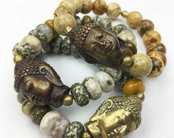 Brass Buddha Gemstone Stretch Bracelet
