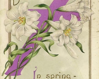 Purple Cross White Easter Lilies on Embossed Antique Easter Postcard 1913