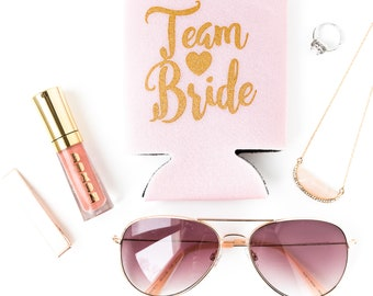 Blush Pink Team Bride Drink Coolers | Pink + Gold Bachelorette Party Drink Coolers, Bridesmaid Gift, Bachelorette Party Favors, Can Holders