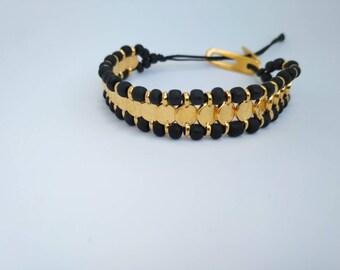 Coin Bracelet Boho bracelet Tribal bracelet black beaded charm bracelet tribal bohemian jewelry for her girlfriend gift