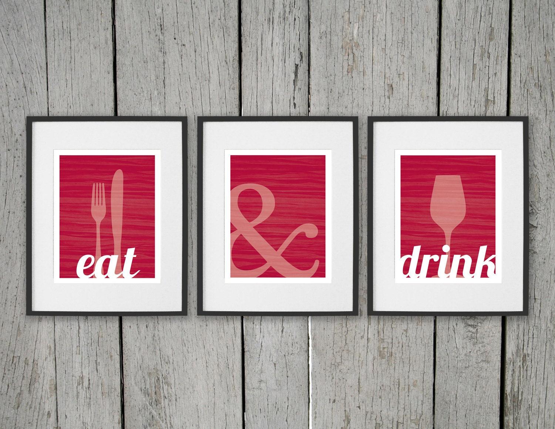 Dining Room Prints Wall Art EAT DRINK Fork Knife Spoon