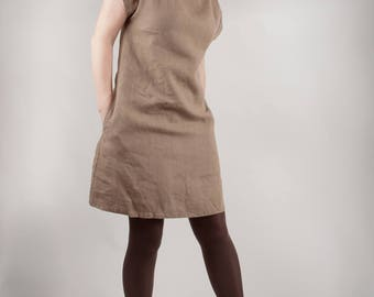 Khaki linen dress. Tunic linen dress. Loose Tunic Dress. Handmade by Linen and Tailor.