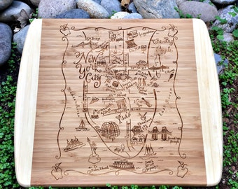 New York City Map Small Bamboo Cheese Board