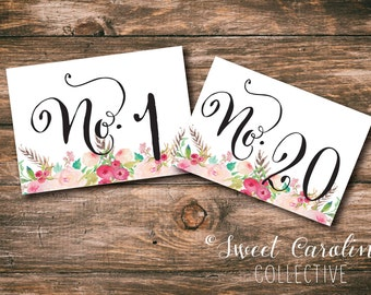 Printable Table Numbers with Flowers 1-20 / INSTANT DOWNLOAD / 5x7 Watercolor Flower Numbers / Wedding Table Numbers DIY