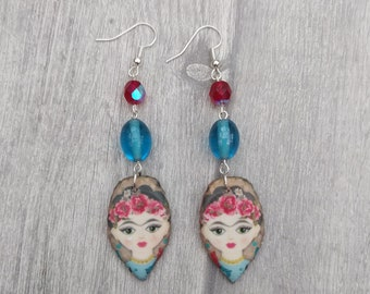 Blue and Red Frida Statement Earrings