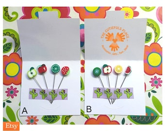 Fruit Stitch Counting Marking Pin | Glass Metal | Hat Shawl Hijab Scarf Lapel Pin | Fancy Pincushion Sewing Quilter Lacemaker Gift