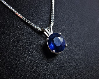 Genuine Blue Sapphire Necklace, Sapphire Pendant, September Birthstone, Gemstone Solitaire, Wedding Anniversary Gift, Blue Gemstone Pendant