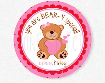 Valentine's Day Bear Tags, Beary Special Tag, Girl Valentines, Teddy Bear Tag, Valentine Tags, Kids Valentines Personalized