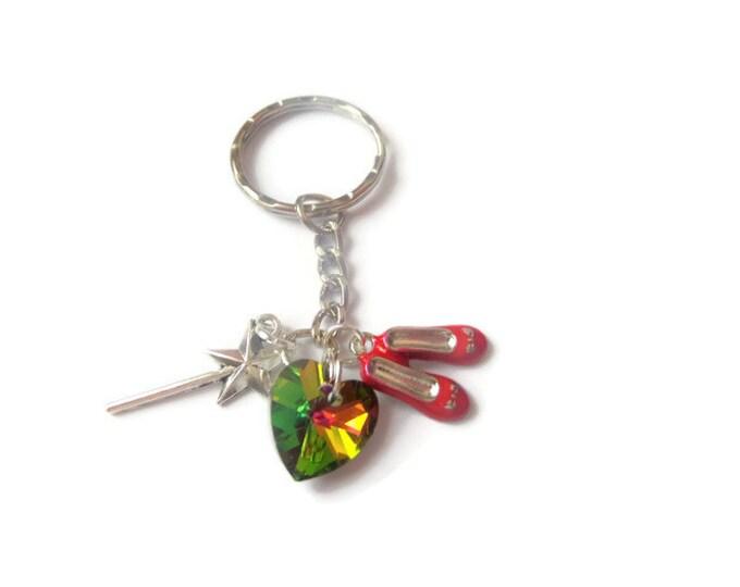 Red shois keyring, Oz keyring, over the rainbow, dorothy gift, charm keyring, novelty gift, oz favours, oz bag charm, sandykissesuk