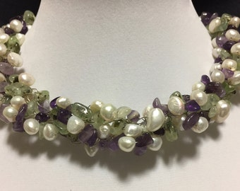 Hand Made Crochet Necklace with Prehnite, Amethyst and Fresh Water Pearls.
