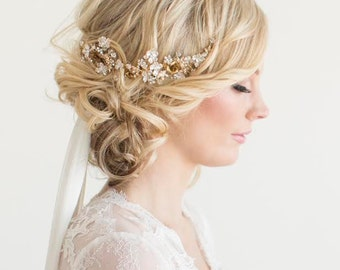 Gold Wedding Headpiece, Bridal Hair Accessory, Gold Wedding Hair Comb, Bridal Headpiece