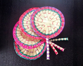 "Set of 10 Mexican Handmade Woven Palm Fan Wedding Gifts Favors Mexican Party Favors 14"" inches"