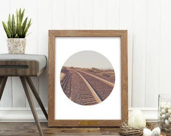 train photograph, printable home decor, travel art, seaside photo, train tracks photograph, California wall art, digital file, boys room