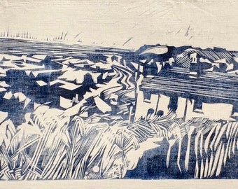 Original Lino print: Hastings from The East Hill (free UK shipping))